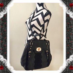 Black Lace Golden Buckle Shoulder Bag
